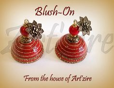 Quilled jhumkas with beads arranged all over