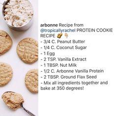 Vanilla Protein Recipes, Protein Cookie Recipe, Protein Powder Recipes, Cleanse Recipes, Ww Recipes, Clean Eating Desserts, Healthy Desserts, Arbonne Nutrition, Arbonne Protein