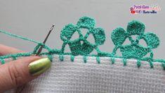 Crochet Edging Patterns, Crochet Lace Edging, Crochet Borders, Crochet Designs, Crochet Flowers, Knitting Patterns, Slip Stitch Crochet, Tunisian Crochet, Crochet Baby
