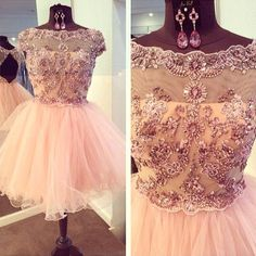 Short Tulle Homecoming Dresses scoop Neck Crystals Beaded Mini Party Dresses 2016