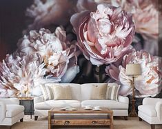 Big red peony wall mural, self adhesive wallpaper, antique oil painting peony bouquet, temporary removable wallpaper# Nursery Wallpaper, Print Wallpaper, Wallpaper Roll, Peel And Stick Wallpaper, Wallpaper With 3d Effect, Flower Wallpaper, Purple Peonies, Peonies Bouquet, Purple Bouquets