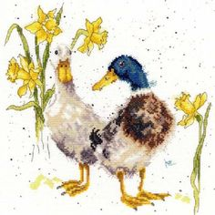 The Ducks and Daffs Cross Stitch Kit is the perfect project for spring