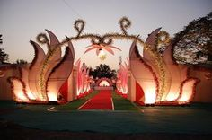 fiber wedding entrance gates and indian wedding accessories - Indian Wedding Entrance Gate Wedding Gate, Wedding Mandap, Desi Wedding, Wedding Ideas, Wedding Receptions, Wedding Themes, Wedding Favors, Wedding Invitations, Wedding Stage Design