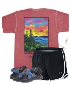 """""""you can find happiness right where you are"""" by flroasburn ❤ liked on Polyvore featuring NIKE, J.Crew and Chaco"""