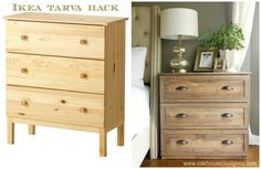 Ikea tarva hack into diy bedside tables. I absolutely love this.