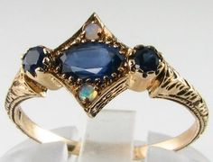 SUPERIOR-QUALITY-9K-ART-DECO-INSP-SAPPHIRE-FIERY-OPAL-RING