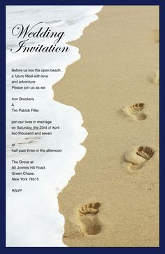 Beach Theme Wedding Invitations | Code BE6 - Beach with footsteps