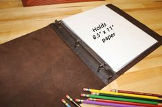 Bifold 3 Ring Binder, Leather Notebook, Portfolio Binder, Leather Book, Leather Portfolio, Leather Binder, Made in the USA, Back to School