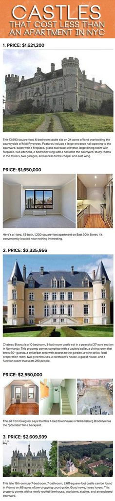 Castles that cost less than an apartment in NYC - this is hilarious and so ridiculous!