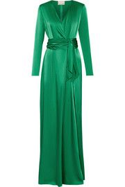 LanvinWrap-effect silk-satin gown