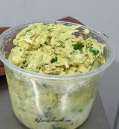 Avocado Chicken Salad: 2 or 3 boneless, skinless chicken breasts,1 avocado,1/4 chopped onion, juice of 1/2 a lime, 2 Tbsp cilantro,salt and pepper, to taste. Cook chicken breast until done, let cool, and then shred. Mix with all other ingredients..