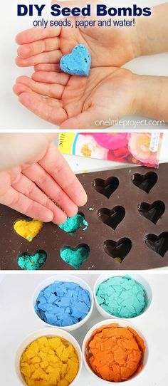 DIY Seed Bombs - One Little Project These DIY seed bombs are so pretty and SO FUN! This is such a great homemade gift idea for Mother's Day! It's also a great kids craft for spring and summer and a super fun way to teach kids about growing seeds. Mothers Day Crafts For Kids, Diy Mothers Day Gifts, Kids Crafts, Gifts For Kids, Homemade Gifts For Friends, Homemade Teacher Gifts, Garden Crafts For Kids, Garden Kids, Preschool Crafts