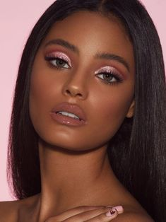 For your own upcoming eye makeup inspiration, we rounded up seven brilliant options for you that we got to watch come to life in real-time backstage. Dark Skin Makeup, Pink Makeup, Girls Makeup, Glam Makeup, Makeup Inspo, Natural Makeup, Makeup Inspiration, Eye Makeup, Hair Makeup