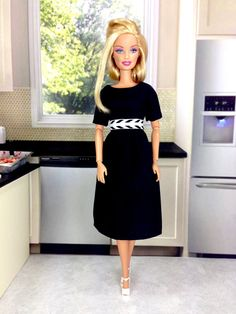 89182f5c37d6 Barbie Doll Dress - Black Dress and Shoes for Barbie Doll and Other 11.5  inch Dolls of Similar Size and Design