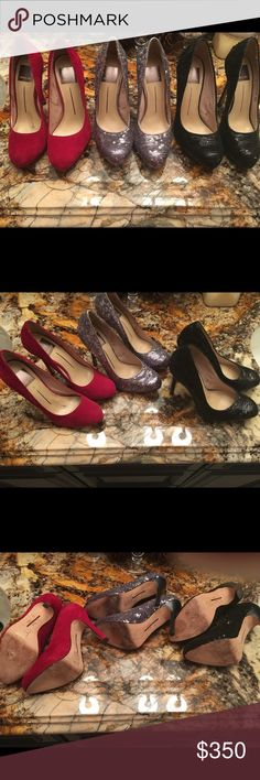 """Lot of Dolce Vita pumps This is a great lot of Dolce Vita pumps. I am pretty sure that only one pair was actually worn once. The others look like they have been tried in but the heel is not worn at all. If you need more pictures I can send them. This is a size 6. They look amazing the only reason I am sell no is because the heel is too tall for me. Hi believe it's 4"""" to 4,5"""". If you are interested in only one or 2 colors just let me know and we can work out a price. All offers are welcome…"""