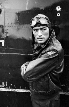 Gregory Peck photographed by W. Eugene Smith as a WWII Armer for his film Twelve O'Clock High, 1950.