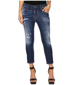 Dsquared2 perfetto wash cool girl cropped jeans in blue c544b25efa87