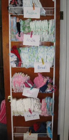Diaper & Other item storage I think I am going to use this idea in 2 places, one place is downstairs on bathroom door for extra baby stuff, one upstairs for the big girls school clothing! :)