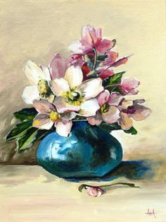 Flower Oil Painting  Anemones  Turquoise  Turquoise vase