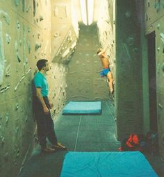 The old Olimpia Sports Centre bouldering wall, Dundee. circa 1990. Me in action on the wall, photo by fellow climber George Ridge.