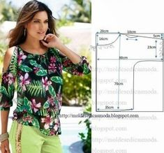We sew summer blouses, tunics. Discussion on LiveInternet - The Russian Online Diaries Service Dress Sewing Patterns, Blouse Patterns, Clothing Patterns, Fashion Sewing, Diy Fashion, Ideias Fashion, Robe Diy, Costura Fashion, Sewing Blouses