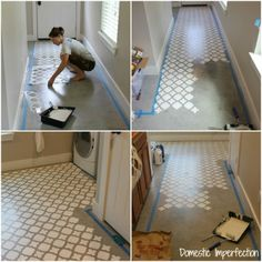 Stenciling a cement floor using the Moroccan Tiles pattern. http://www.cuttingedgestencils.com/moroccan-tiles-wall-pattern.html #stenciling #laundryroom #cementfloor