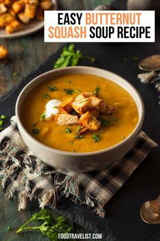 This is one of our best soup recipes. It's an easy recipe for butternut squash soup. Delicious healthy and simple recipe is great for lunch or dinner. We've included a few other butternut squash recipes for you to explore to.  #Recipe #ButternutSquash #SoupRecipe