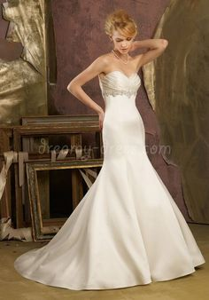 Satin Empire Mermaid Sweetheart Sleeveless Floor-Length Wedding Dress with Crystals