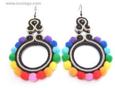 Rainbow Pom pom is summer, joyful earrings brightening every dress and everyday outfit. The lenght of these light earrings is 9.5 cm. You can ask for change ear wire into pin ( stud ) or clip on You can order in different color scheme - write me.