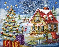 Christine Genest ~ My Beautiful Fir Christmas Scenes, Christmas Art, Christmas Greetings, Vintage Christmas, Christmas Goodies, Christmas Holidays, Xmas, Art Mignon, Illustration Noel
