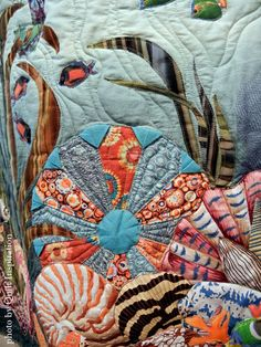 Dresden of the Sea by Diane E. Miller.  Viewers' Choice Award, 2015 Springville (Utah) quilt show.  Closeup photo by Quilt Inspiration.