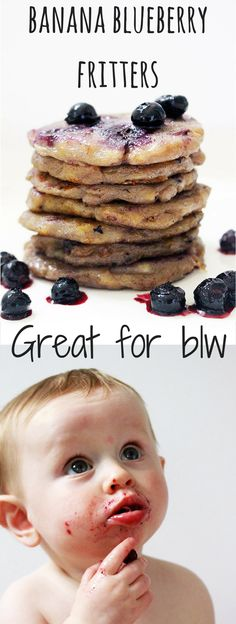 These banana blueberry fritters are great for kids' breakfast or dessert. They are perfect for baby-led weaning (blw)
