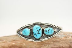 Native American Indian Jewlery Sterling Silver Turquoise Cuff Bracelets Signed