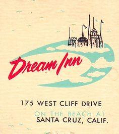 Dream Inn matchbook cover (front) Tourist Trap, Vintage Lettering, Graphic Design Illustration, Bugs, David, Spaces, Explore, Type, Cover