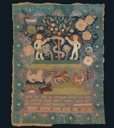 Lydia Hart (dates unknown)  Boston  1744  Silk on fine linen  11 1/2 x 9 in.  American Folk Art Museum