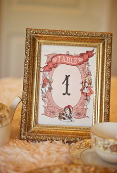 Vintage Alice In Wonderland Table Numbers Pink, blush and cream. Instant Download Printables #wedding #Alice #vintage