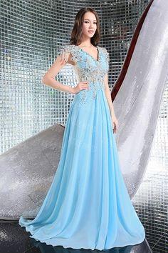 Dresswe.comサプライ品豪華なラインストーンVネックチャペルの列車ラインの床の長さのイブニング/ウェディングドレス イブニングドレス2014