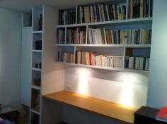 Custom-made bookcase in matt natural oak - library Home Office Design, Home Office Decor, Home Decor, Basement Office, Bureau Design, Home Office Furniture, Bookcase, Bookshelves, Interior Design