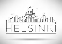 Linear Helsinki City Silhouette with Typographic Design - stock vector Helsinki, Doodle Drawings, Easy Drawings, Skyline Silhouette, Silhouette City, City Drawing, City Sketch, Typographic Design, World Cities