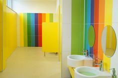Image 2 of 21 from gallery of FCA Srbija Kindergarten / IDEST Doo. Photograph by Jelena Arsenijević Kindergarten Interior, Kindergarten Design, School Bathroom, Bathroom Kids, Bathrooms, Kids Toilet, Kids Daycare, Hospital Design, Nursery School