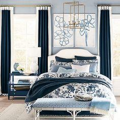 Striped Wallpaper Design, Velvet Duvet, Ticking Stripe, Blue Bedroom, Ballard Designs, Quilt Bedding, New Wall, Decoration, Home Remodeling