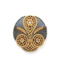 AN ART NOUVEAU ENAMEL AND DIAMOND BROOCH   Of circular outline, the blue and red plique-à-jour enamel plaque set with twin wheat sheaves and scrolling foliate designs, each centering upon a rose or old mine-cut diamond accent, mounted in 18k gold, circa 1900