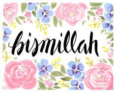 ART PRINT Bismillah mit rosa und blau Florals 8 x 10