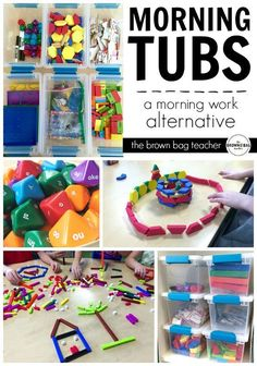 """Replacing morning work with """"Morning Tubs."""" Encouraging a hands-on, social, play-based start to the day. I LOVE this idea if you teach in a special education classroom. The tubs are organized, structured, and all contained so there is more independence and success. Great if you teach students with autism and special learning needs. Read more at: thebrownbagteache..."""