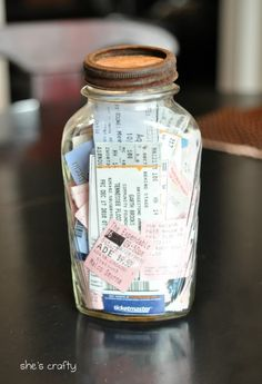 Ticket Stub Memory Jar: If you happen to keep ticket stubs from movies, concerts or fun events you?ve attended with your loved one, place them all in a memory jar to put on display on a bookshelf in your house! Valentines Bricolage, Valentines Diy, Do It Yourself Inspiration, Travel Inspiration, Room Inspiration, Budget Planer, Garth Brooks, Do It Yourself Home, Crafty Craft