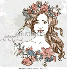 Beautiful girl with a wreath in her hair Background to the girl and flowers fashionable retro background,  wallpaper sketch