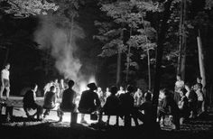 Singing 'round the camp fire. Southfields, New York. Interracial activities at camp Nathan Hale, where children are aided by the Methodist Camp Service. Campers of the Methodist Camp Service and other organizations, singing around the camp fire.    image    The campfire photo is by Gordon Parks, working as a trainee photographer  for the Farm Security Administration in Aug 1943