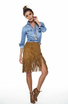 Hello, Bohemian princess! This skirt is the ultimate festival skirt. - 100% Polyester - Model is wearing a Small