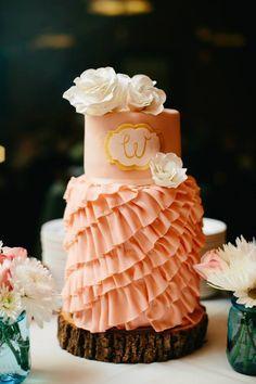 Love this ruffled wedding cake! #weddingcake