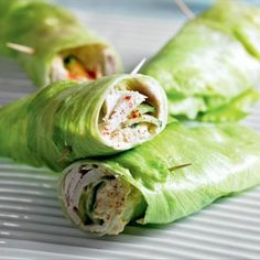Healthy Turkey & Cucumber Lettuce Wrap - iceberg lettuce, sliced roasted turkey, cucumber, hummus, paprika